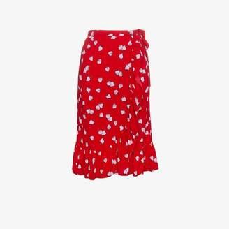 Miu Miu strawberry print ruffle wrap skirt