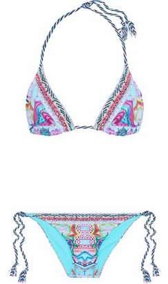 Camilla Crystal-Embellished Printed Triangle Bikini