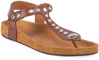 Isabel Marant Encore Flat Studded T-Strap Sandals
