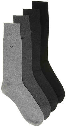 Calvin Klein Solid Crew Socks - 4 Pack - Men's