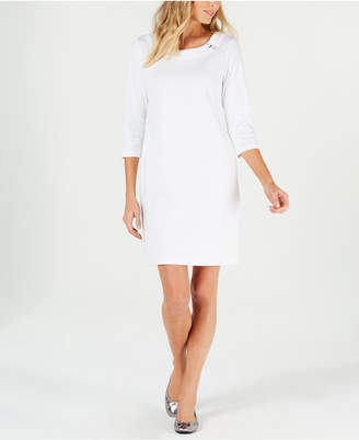 Karen Scott Cotton Ring-Detail Sheath Dress