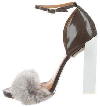 Calvin Klein Collection Fur-Trimmed Ankle Strap Sandals