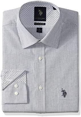 U.S. Polo Assn. Men's Regular Fit Striped Semi Spread Collar Dress Shirt