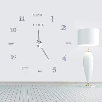 DIY Large 3D Frameless Wall Clock, Estink Modern Style Mute Acrylic Wall Clock Mirror Stickers Decoration for Living Room Bedroom Office(Silver)
