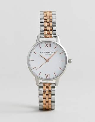 Olivia Burton OB16MDW25 White Midi Dial Bracelet Watch In Mixed Metal