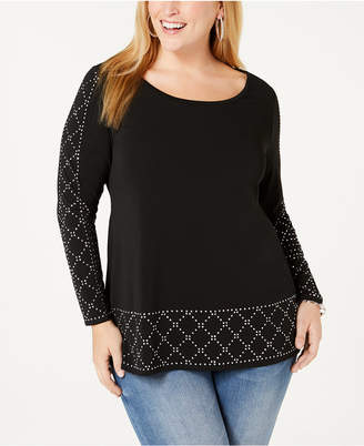 Belldini Black Label Plus Size Embellished Scoop-Neck Tunic