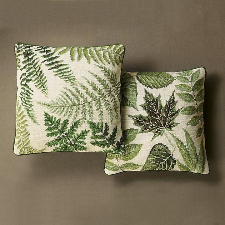 Fern and Leaf Needlepoint Pillows
