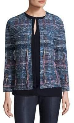 St. John Wool Tweed Fringe Jacket