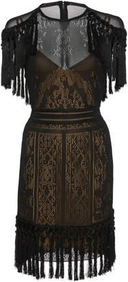 Murad Zuhair Fringe Sheer Knit Mini Dress