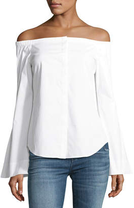 Theory Auriana B Off-the-Shoulder Stretch-Cotton Top
