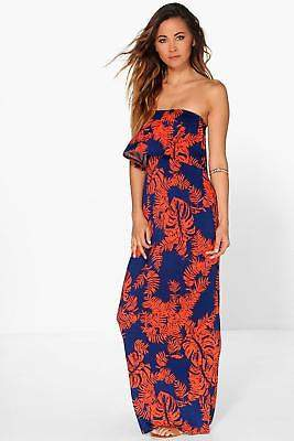boohoo NEW Womens Palm Printed Bandeau Detail Maxi Dress in Polyester