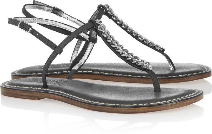 Bernardo Links leather and chain T-bar sandals