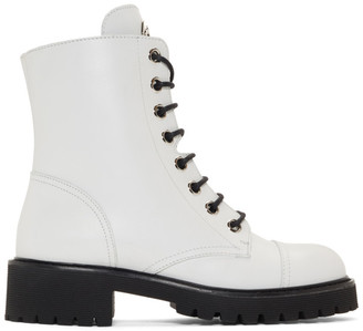 Giuseppe Zanotti White Birel Combat Boots