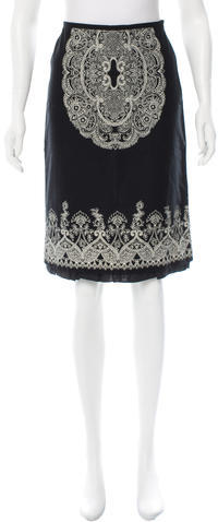 Miu MiuMiu Miu Floral Print Knee-Length Skirt