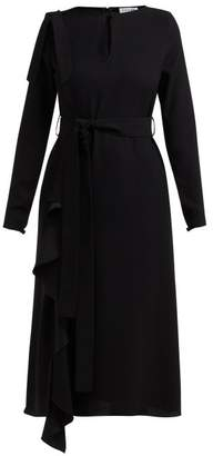 Osman Ellen Ruffled Tie Waist Crepe Dress - Womens - Black