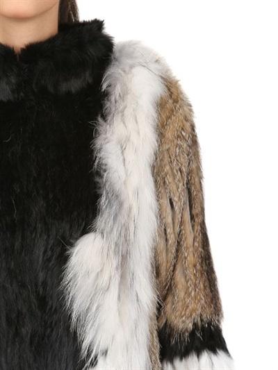 Patchwork Fur Long Coat