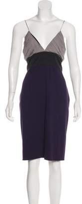 L'Agence Linen-Paneled Midi Dress