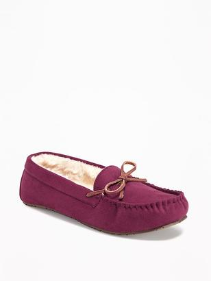 Sueded Sherpa-Lined Moccasin Slippers for Women $19.94 thestylecure.com