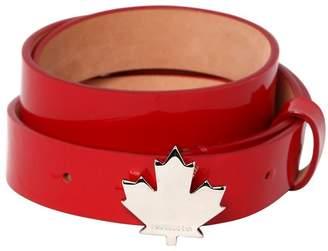 DSQUARED2 25mm Patent Leather Belt W/ Leaf Detail