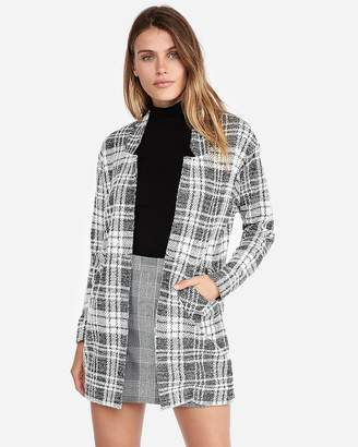 Express Petite Plaid Tailored Knit Blazer