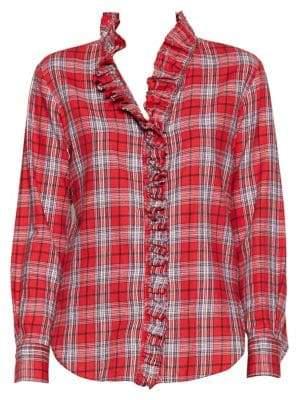 Etoile Isabel Marant Dawden Plaid Ruffle Button-Down Shirt