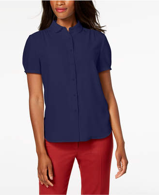 Anne Klein Shirred Button-Front Blouse, Created for Macy's