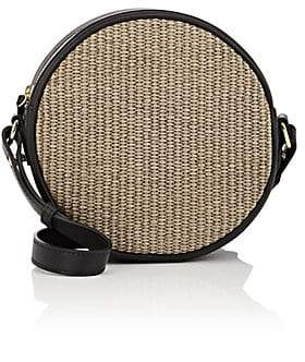 Barneys New York Women's Raffia & Leather Circle Crossbody Bag - Brown