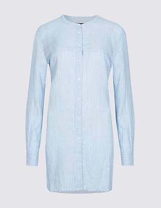 M&S Collection Pure Linen Loose Fit Striped Long Line Shirt