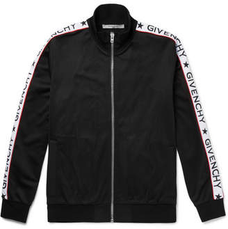 Givenchy Rubber-Appliquéd Satin-Jersey Zip-Up Track Jacket