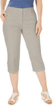 Karen Scott Petite Button-Hem Capri Pants