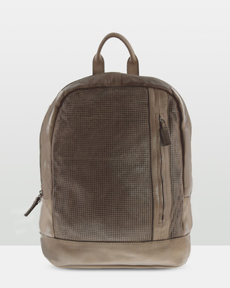 Avoca Large Washed Leather Laptop Backpack