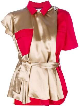 Sacai belted short-sleeve blouse