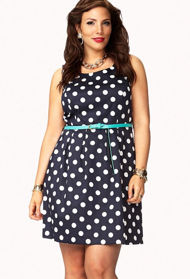 Forever 21 FOREVER 21+ Polka Dot A-Line Dress w/ Belt