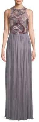 Lanvin Velvet-Paneled Floor-Length Dress