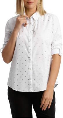 Must Have Cotton Shirt - White/Silver Foil Spot