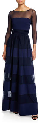 Chiara Boni Bateau-Neck Long-Sleeve Sheer-Yoke Striped Inset Gown