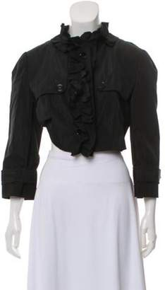 Dolce & Gabbana Ruffle-Accented Cropped Jacket Black Ruffle-Accented Cropped Jacket