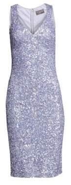 Theia V-Neck Crunchy Sequin Cocktail Dress