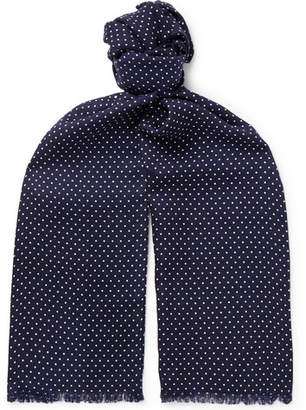 Tom Ford Fringed Polka-Dot Wool, Silk and Cashmere-Blend Scarf - Men - Navy