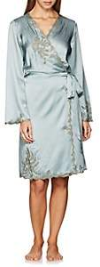 Carine Gilson Women's Lace-Trimmed Silk Short Robe - Lt. Green