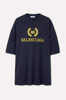 Balenciaga Oversized Printed Cotton-jersey T-shirt - Navy