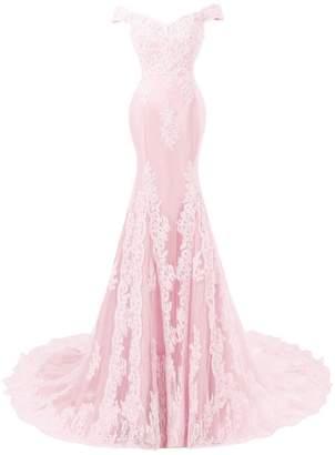 Sweet Bridal Women's Off Shoulder Lace A-line Long Evening Dress