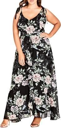 City Chic Blossoms Sleeveless Maxi Dress
