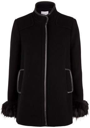Claudie Pierlot Fur Trimmed Coat
