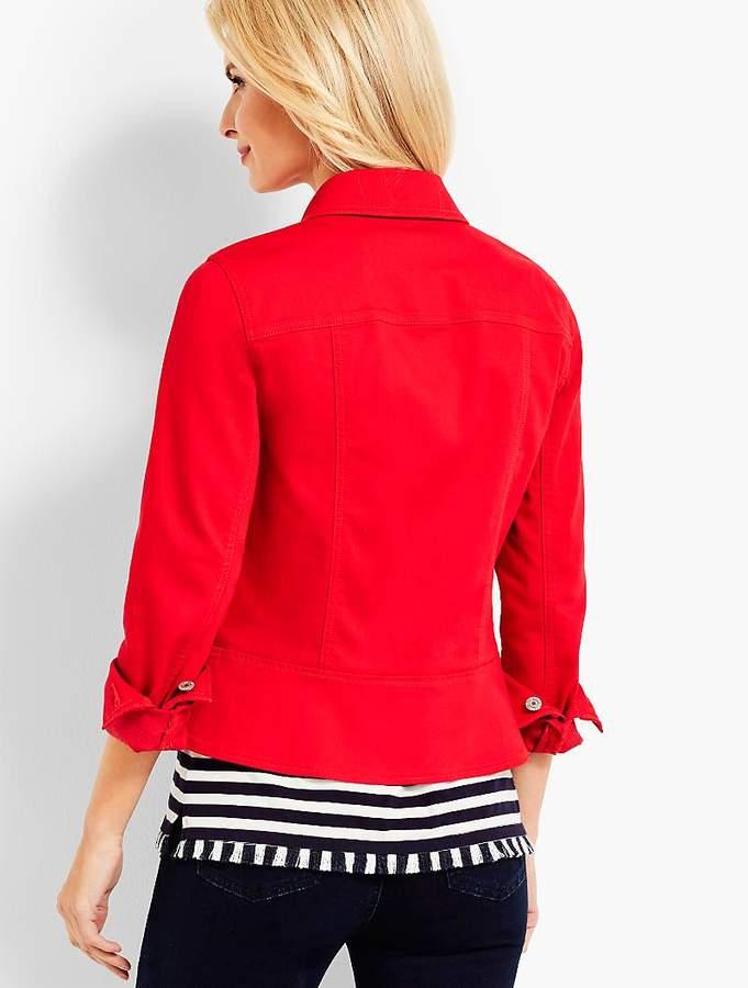Peplum Denim Jacket-Colored