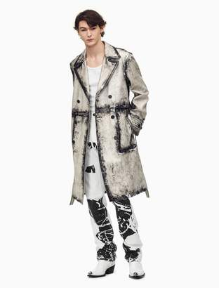 Calvin Klein double breasted trench coat in x-ray painted calf leather