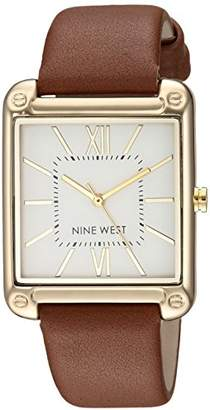 Nine West Women's NW/2116SVBN Gold-Tone and Brown Strap Watch