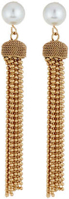Lydell NYC 10mm Pearly Ball Chain Tassel Earrings