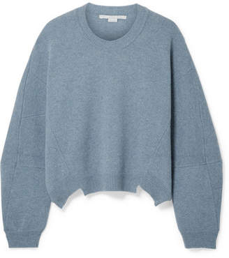 Stella McCartney Asymmetric Wool And Alpaca-blend Sweater - Blue