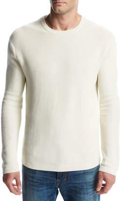 Vince Reverse Tuck-Stitch Cotton Crewneck Sweater, Cream